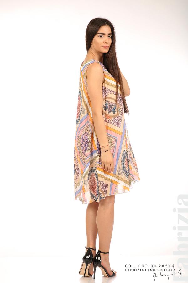 Многоцветна фигурална рокля солей бежов/розов 6 fabrizia