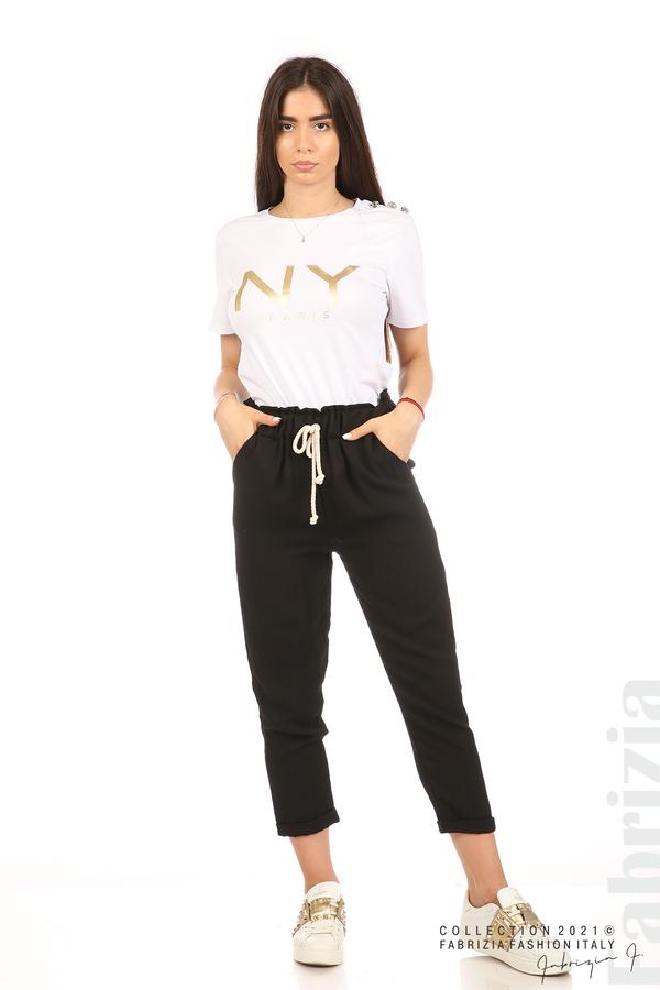 Панталон с декоративна връзка въже черен 4 fabrizia