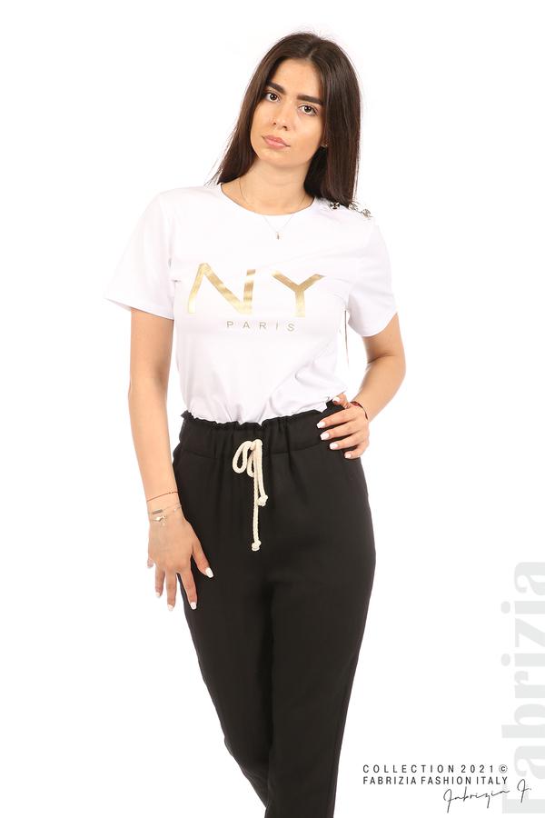 Панталон с декоративна връзка въже черен 3 fabrizia