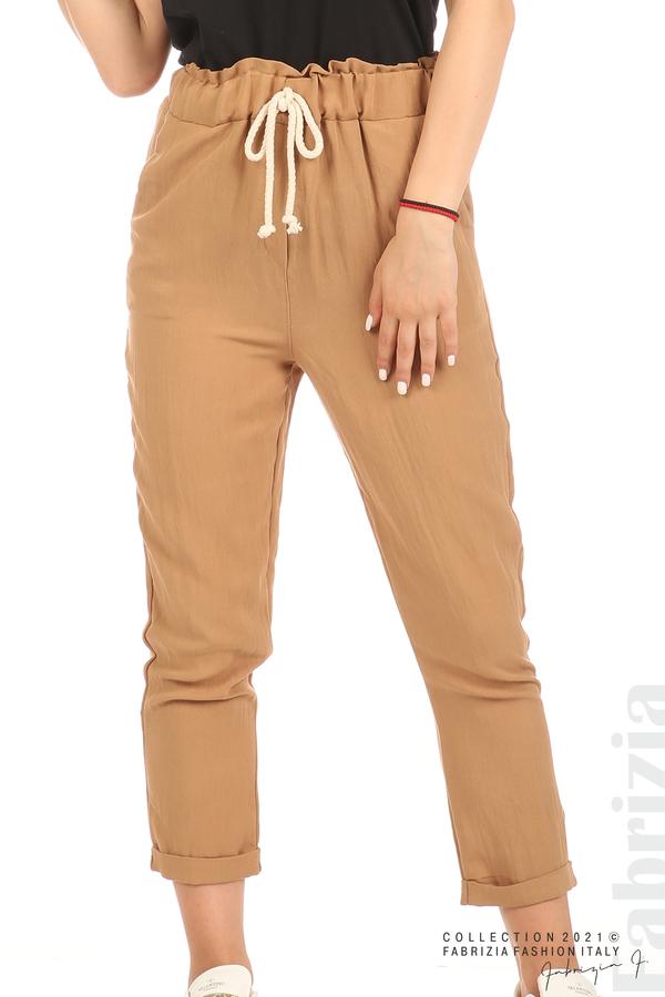 Панталон с декоративна връзка въже камел 4 fabrizia