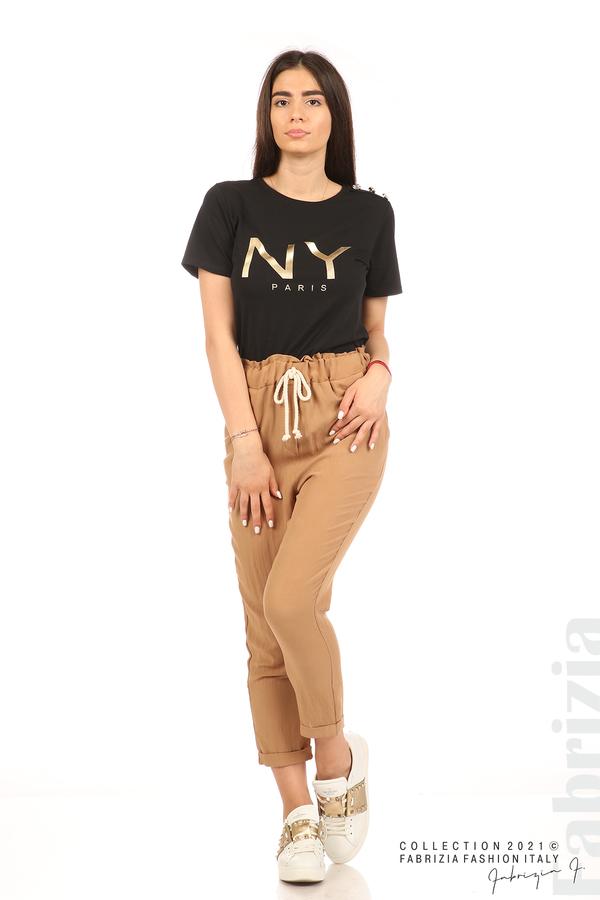 Панталон с декоративна връзка въже камел 1 fabrizia