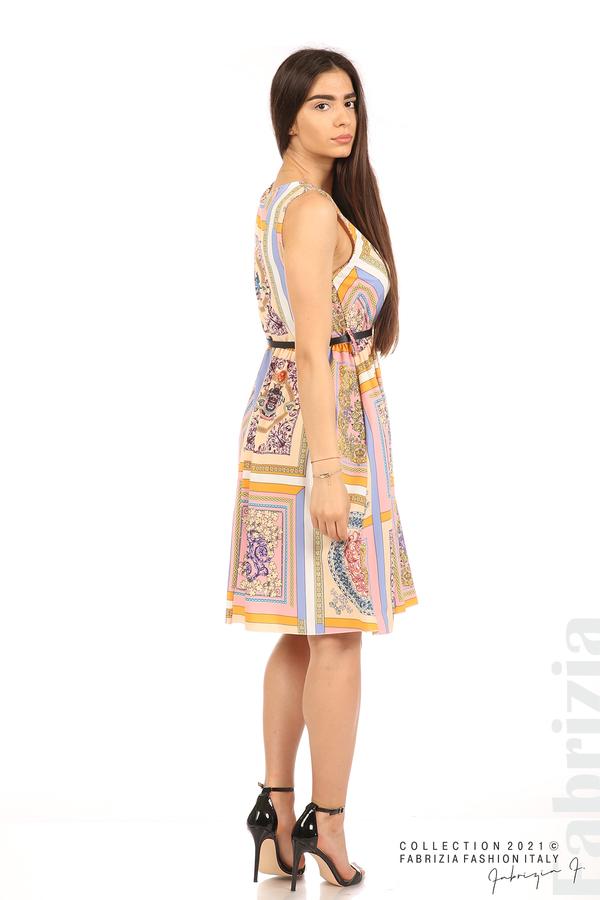 Фигурална многоцветна рокля с колан бежов/розов 5 fabrizia