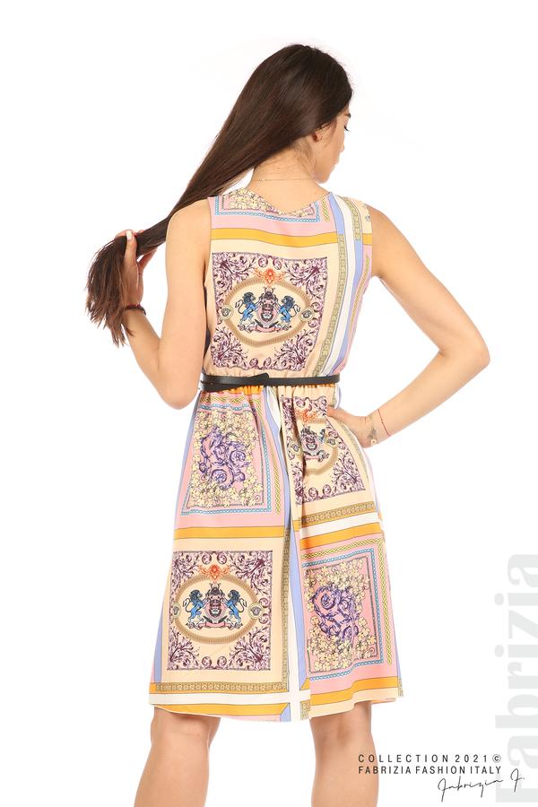 Фигурална многоцветна рокля с колан бежов/розов 6 fabrizia