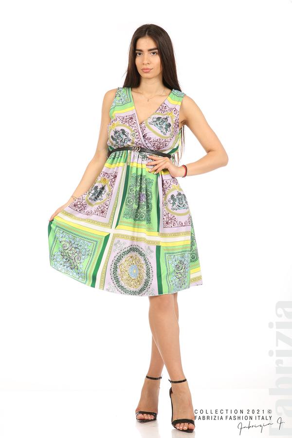 Фигурална многоцветна рокля с колан зелен/лилав 1 fabrizia