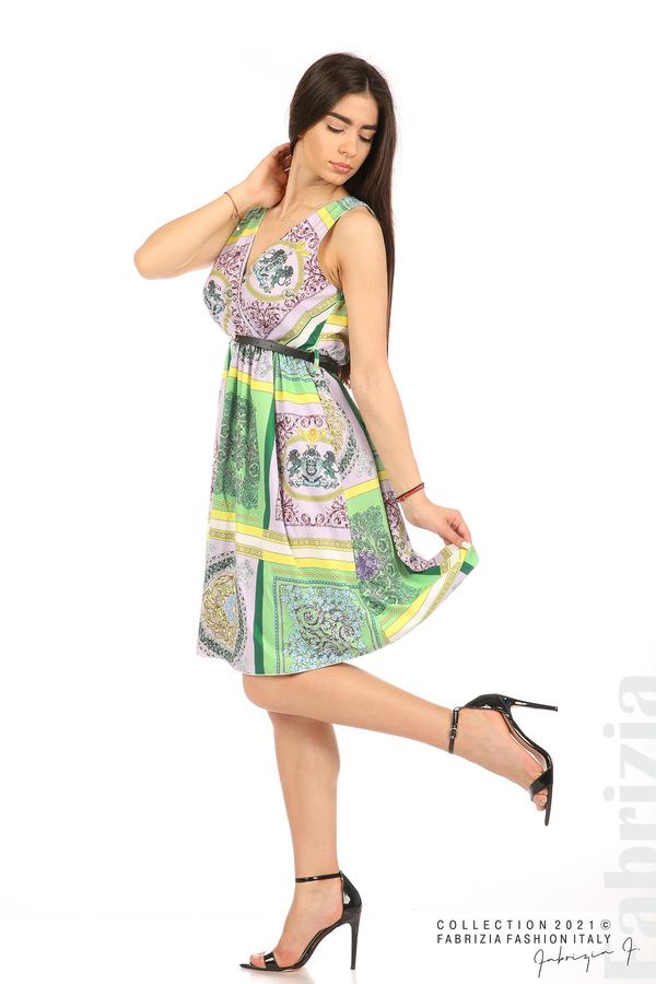 Фигурална многоцветна рокля с колан зелен/лилав 4 fabrizia