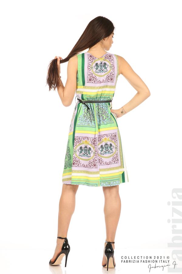 Фигурална многоцветна рокля с колан зелен/лилав 6 fabrizia