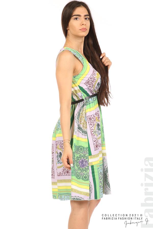 Фигурална многоцветна рокля с колан зелен/лилав 5 fabrizia