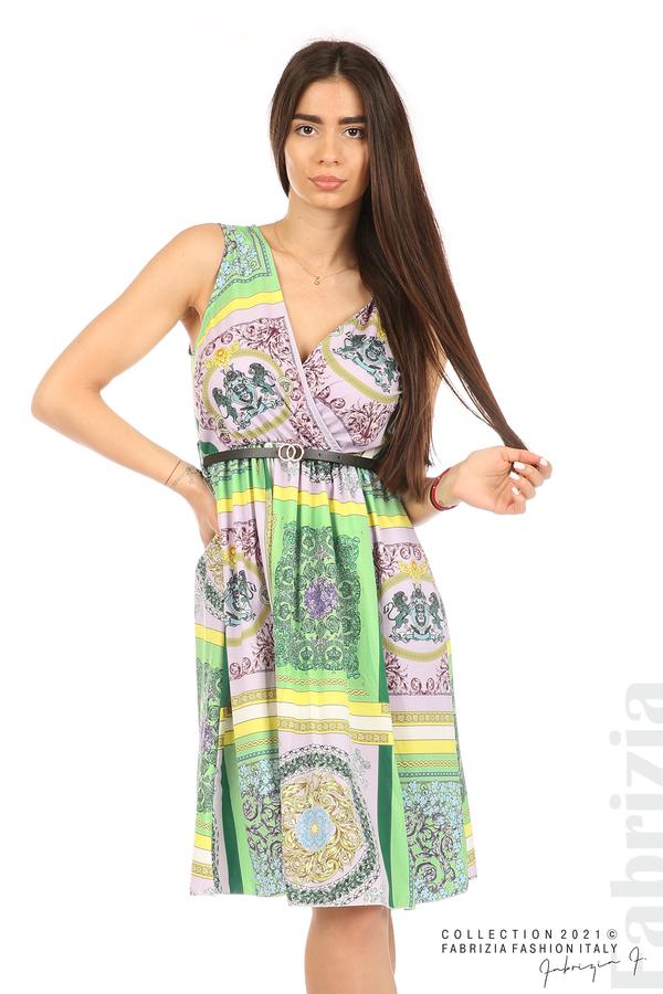 Фигурална многоцветна рокля с колан зелен/лилав 3 fabrizia
