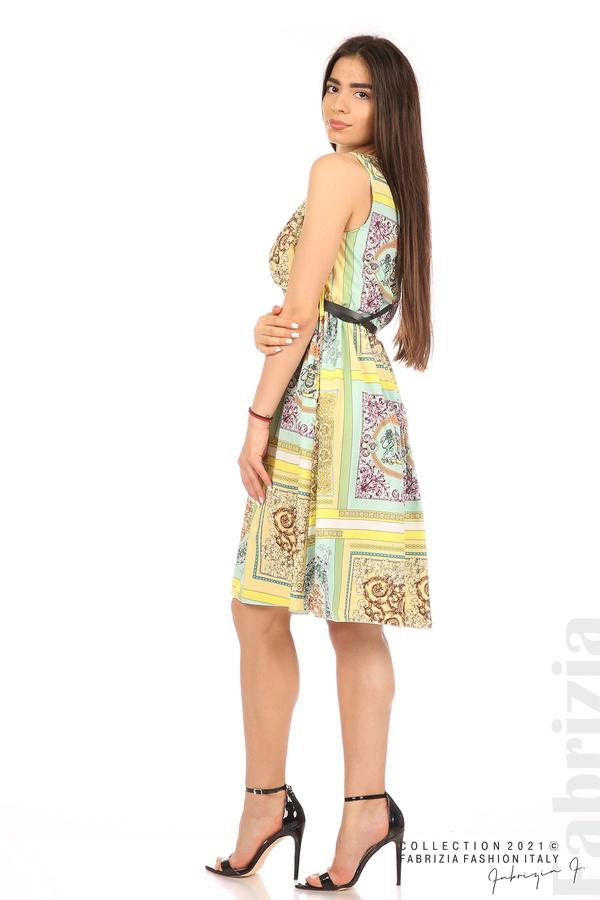 Фигурална многоцветна рокля с колан мента/жълт 1 fabrizia