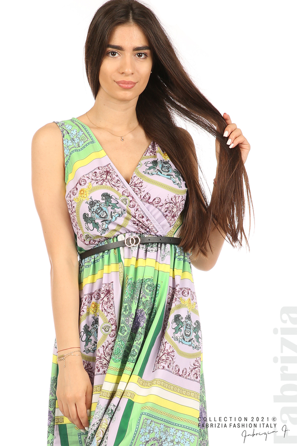Фигурална многоцветна рокля с колан зелен/лилав 2 fabrizia