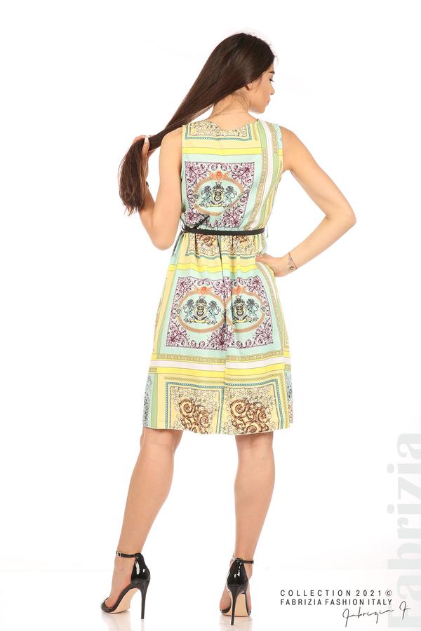 Фигурална многоцветна рокля с колан мента/жълт 6 fabrizia