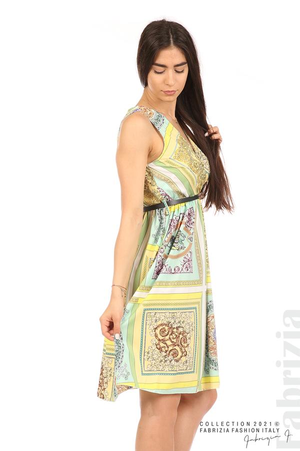 Фигурална многоцветна рокля с колан мента/жълт 3 fabrizia