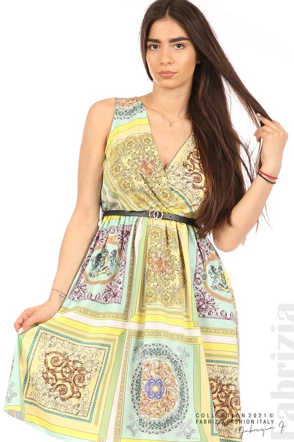 Фигурална многоцветна рокля с колан мента/жълт 2 fabrizia