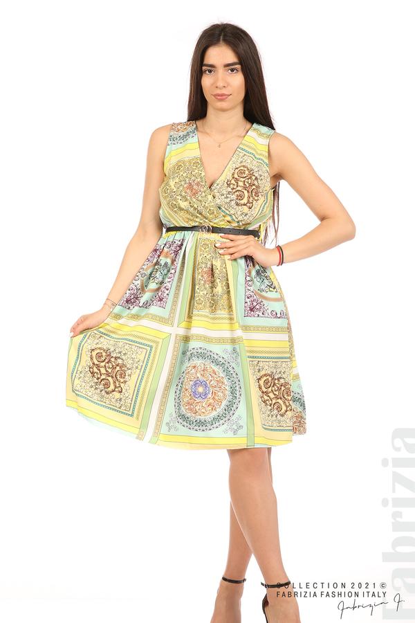 Фигурална многоцветна рокля с колан мента/жълт 4 fabrizia