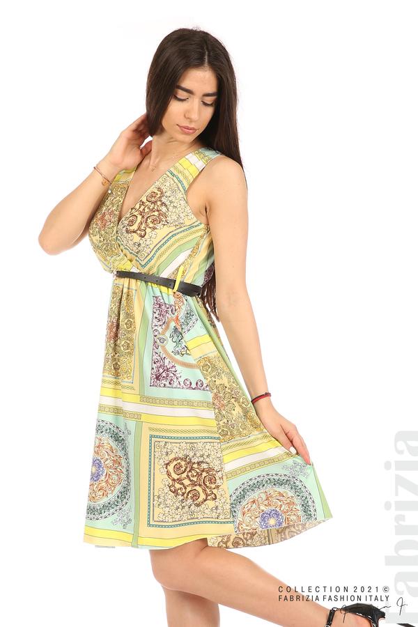 Фигурална многоцветна рокля с колан мента/жълт 5 fabrizia
