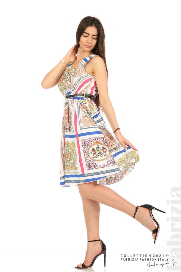 Фигурална многоцветна рокля с колан бял 3 fabrizia