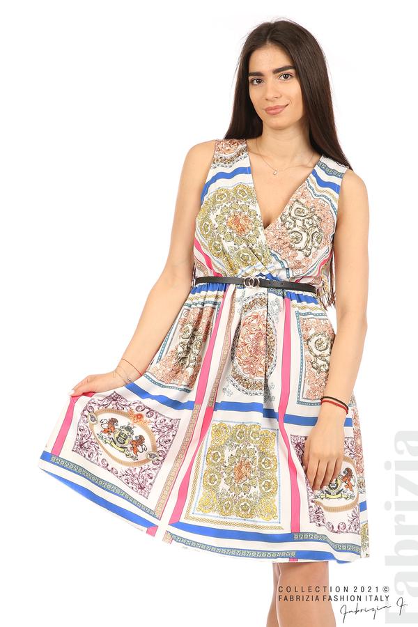 Фигурална многоцветна рокля с колан бял 4 fabrizia