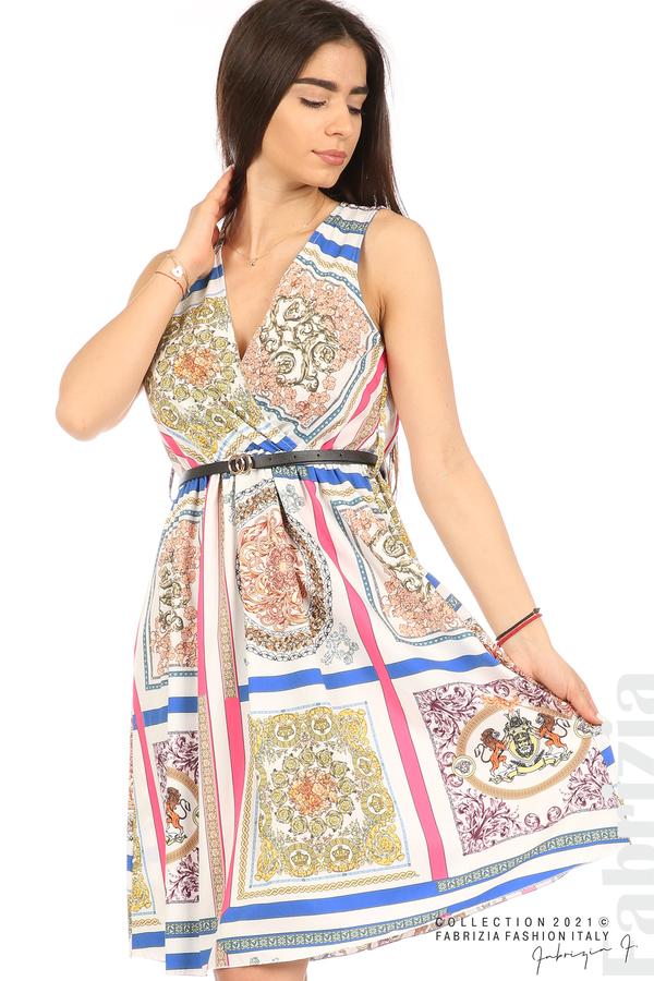 Фигурална многоцветна рокля с колан бял 2 fabrizia