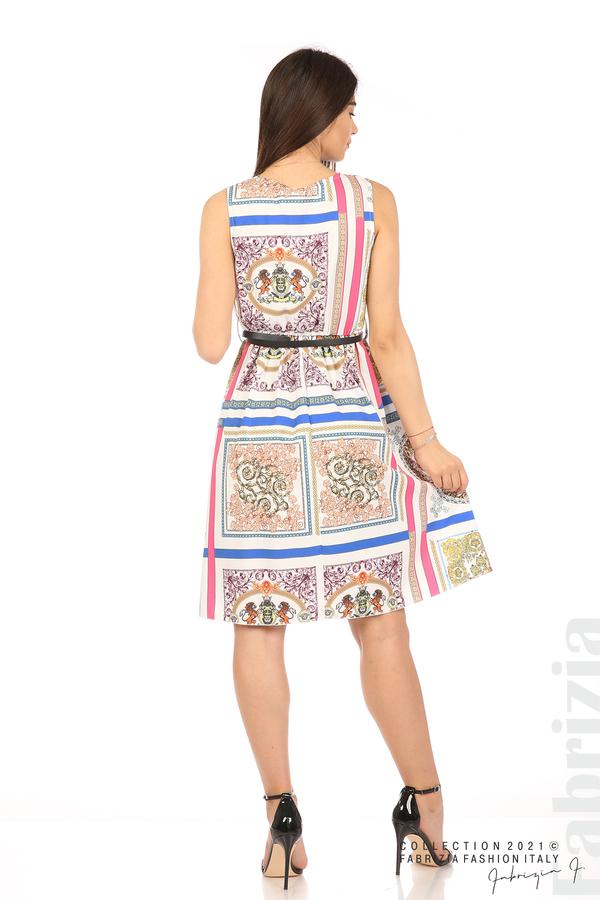 Фигурална многоцветна рокля с колан бял 6 fabrizia
