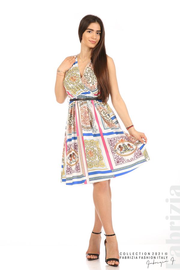 Фигурална многоцветна рокля с колан бял 1 fabrizia