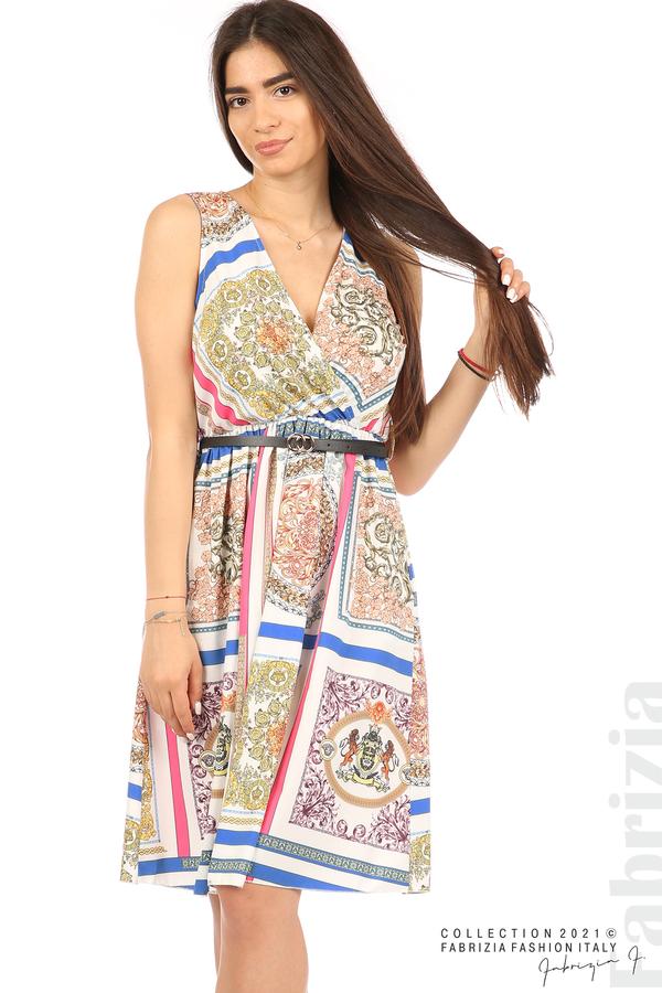 Фигурална многоцветна рокля с колан бял 5 fabrizia