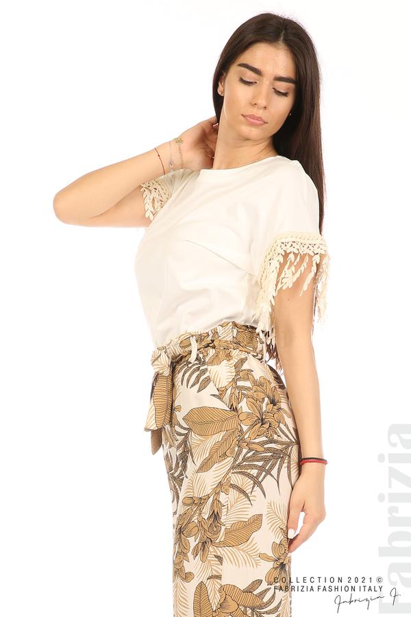 Блуза с плетени ресни екрю 1 fabrizia