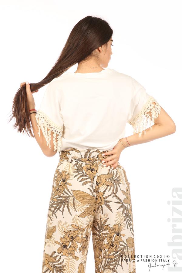 Блуза с плетени ресни екрю 6 fabrizia