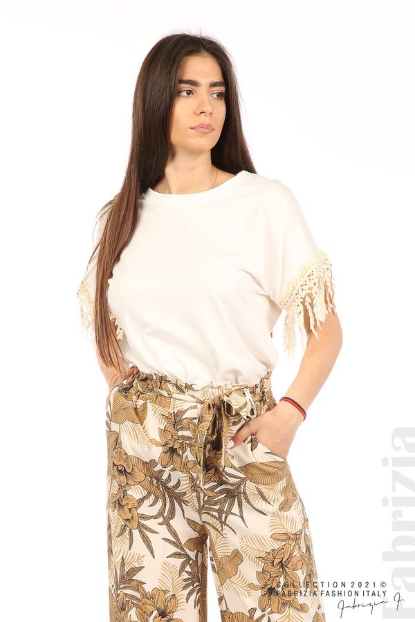 Блуза с плетени ресни екрю 4 fabrizia