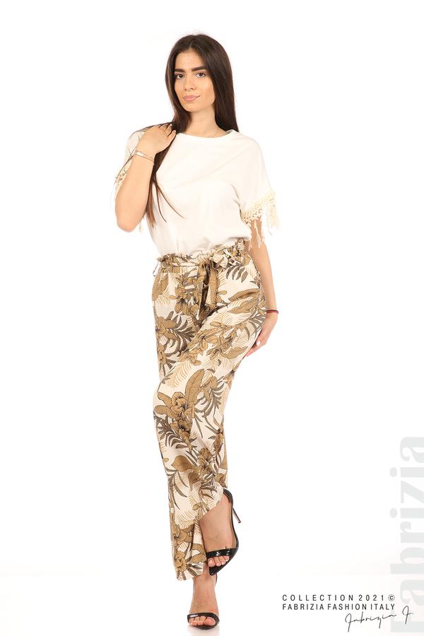Блуза с плетени ресни екрю 3 fabrizia
