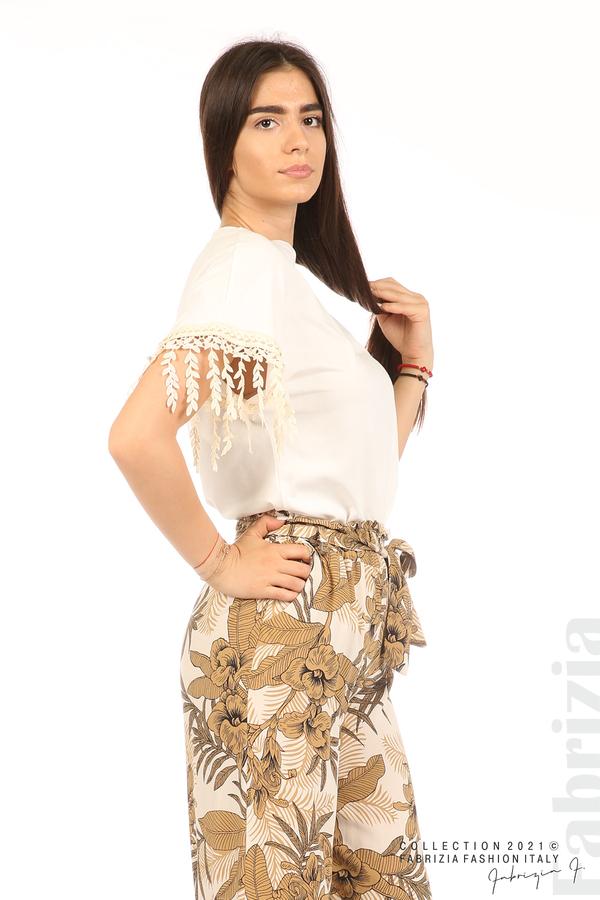 Блуза с плетени ресни екрю 5 fabrizia