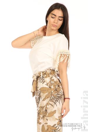 Блуза с плетени ресни