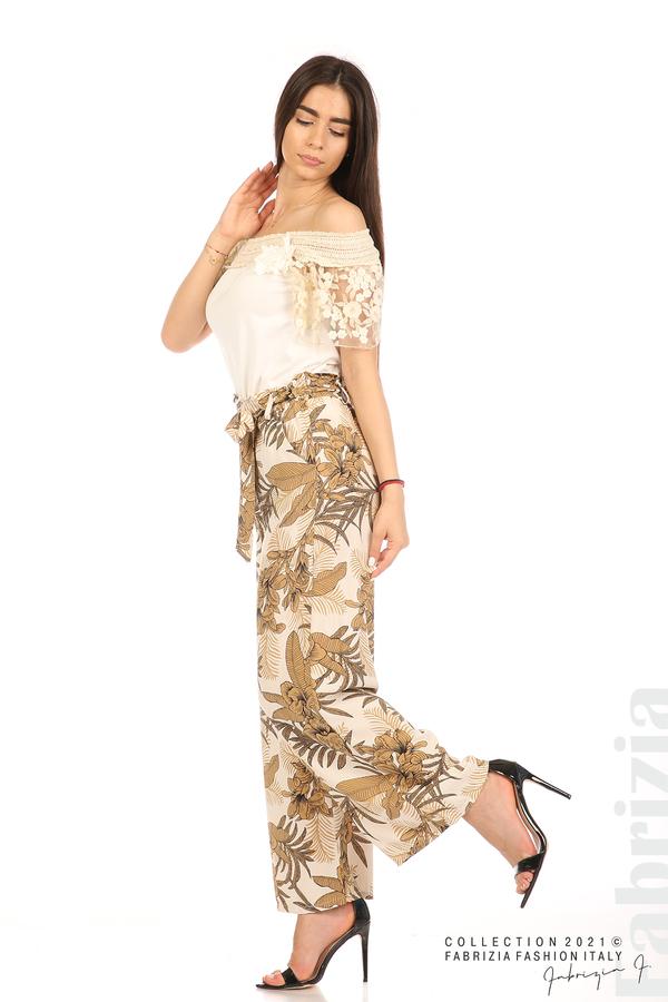 Блуза с бродирани ръкави екрю 4 fabrizia