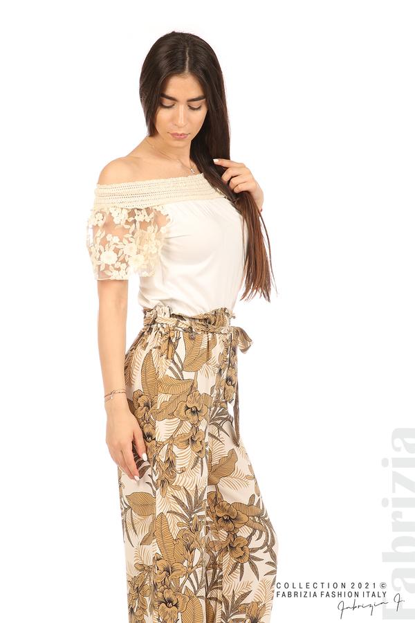 Блуза с бродирани ръкави екрю 3 fabrizia