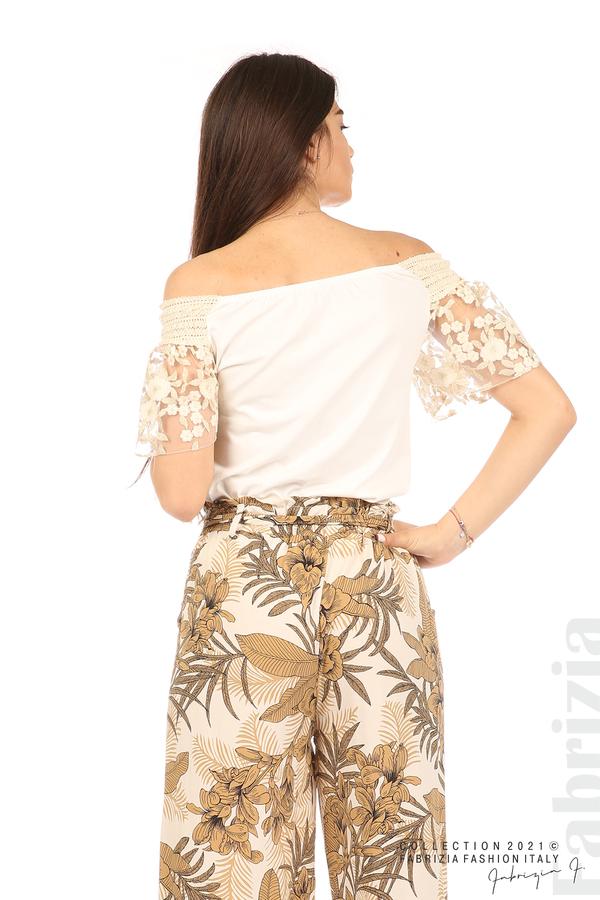 Блуза с бродирани ръкави екрю 6 fabrizia