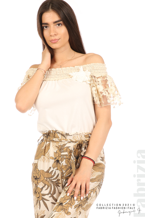 Блуза с бродирани ръкави екрю 1 fabrizia