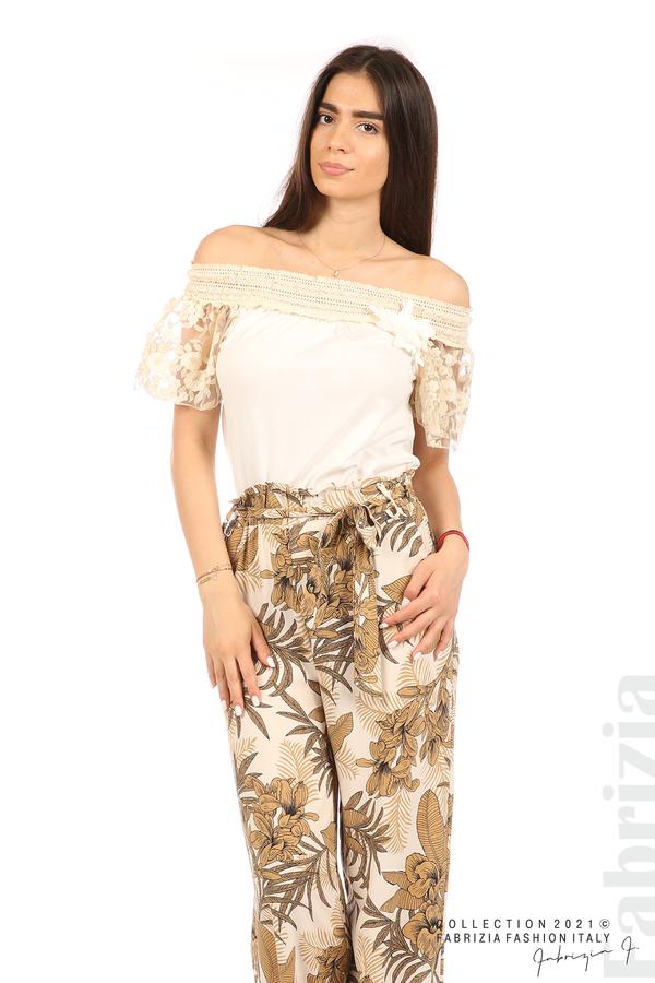 Блуза с бродирани ръкави екрю 5 fabrizia
