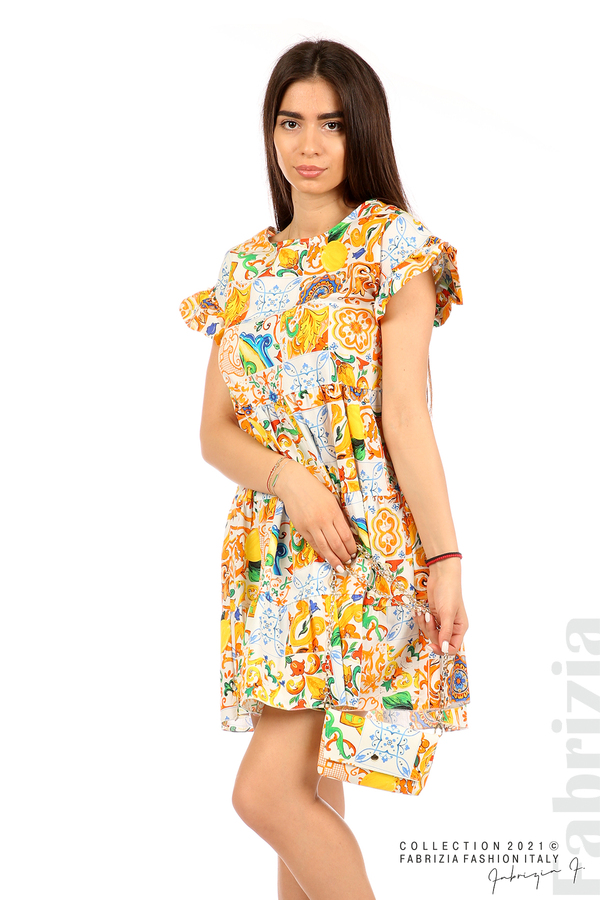 Многоцветна фигурална рокля с чанта бял/оранж 1 fabrizia