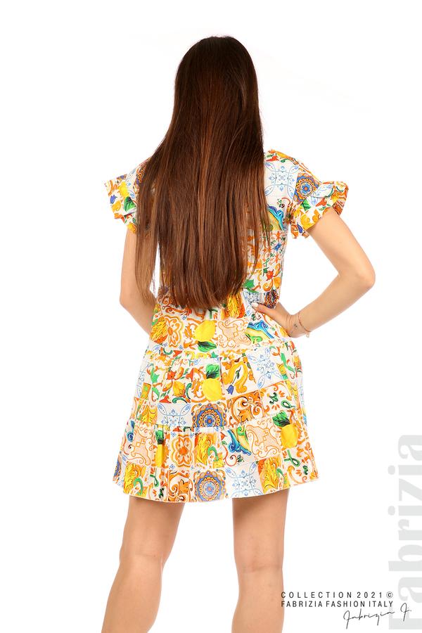 Многоцветна фигурална рокля с чанта бял/оранж 6 fabrizia