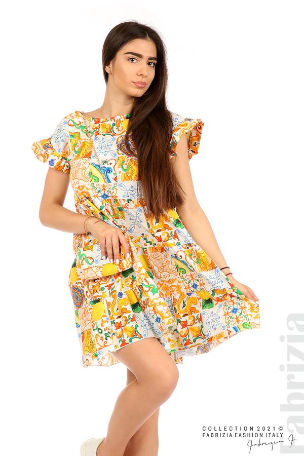 Многоцветна фигурална рокля с чанта бял/оранж 4 fabrizia
