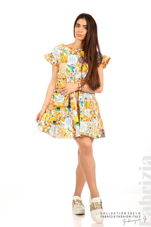 Многоцветна фигурална рокля с чанта бял/оранж 3 fabrizia