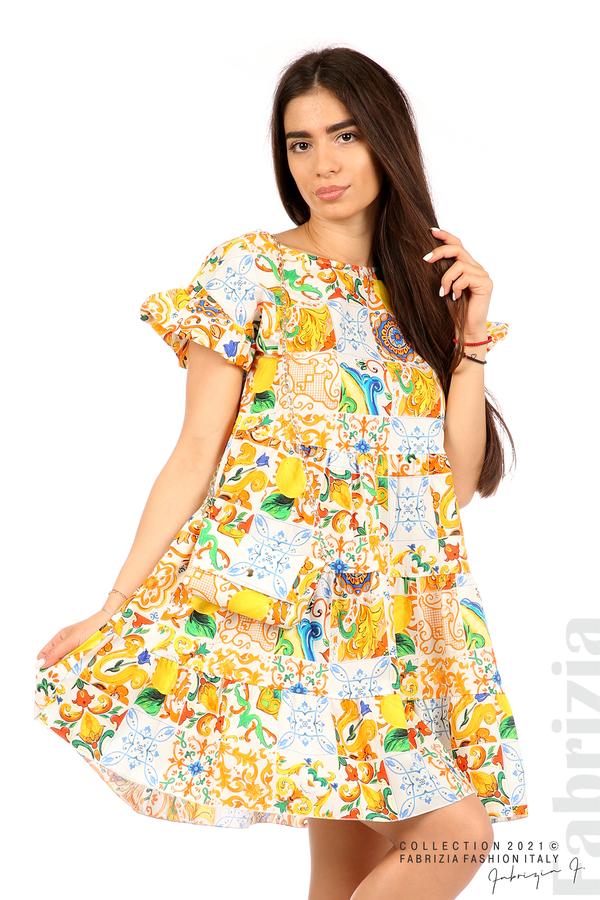 Многоцветна фигурална рокля с чанта бял/оранж 5 fabrizia