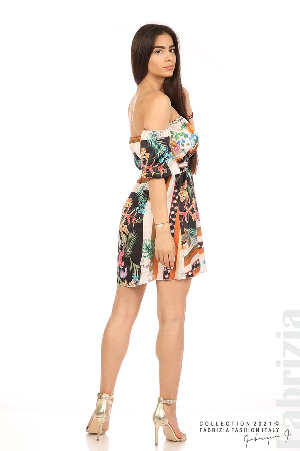 Мгогоцветна рокля паднали рамене екрю/черен 6 fabrizia