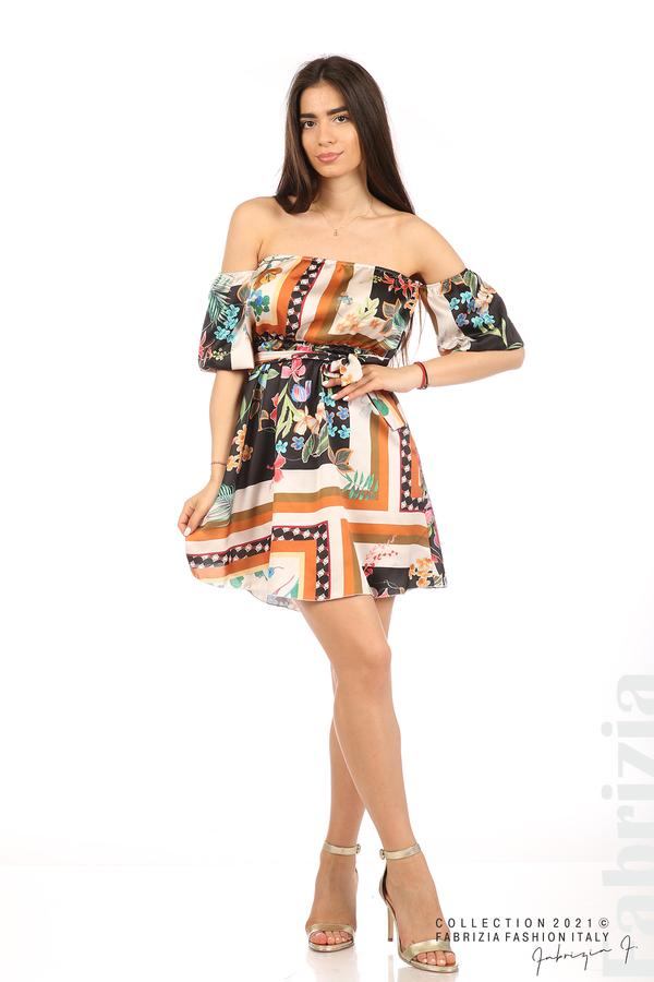 Мгогоцветна рокля паднали рамене екрю/черен 3 fabrizia
