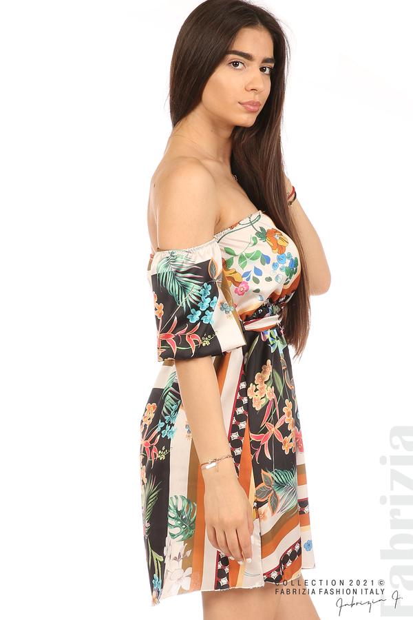 Мгогоцветна рокля паднали рамене екрю/черен 4 fabrizia