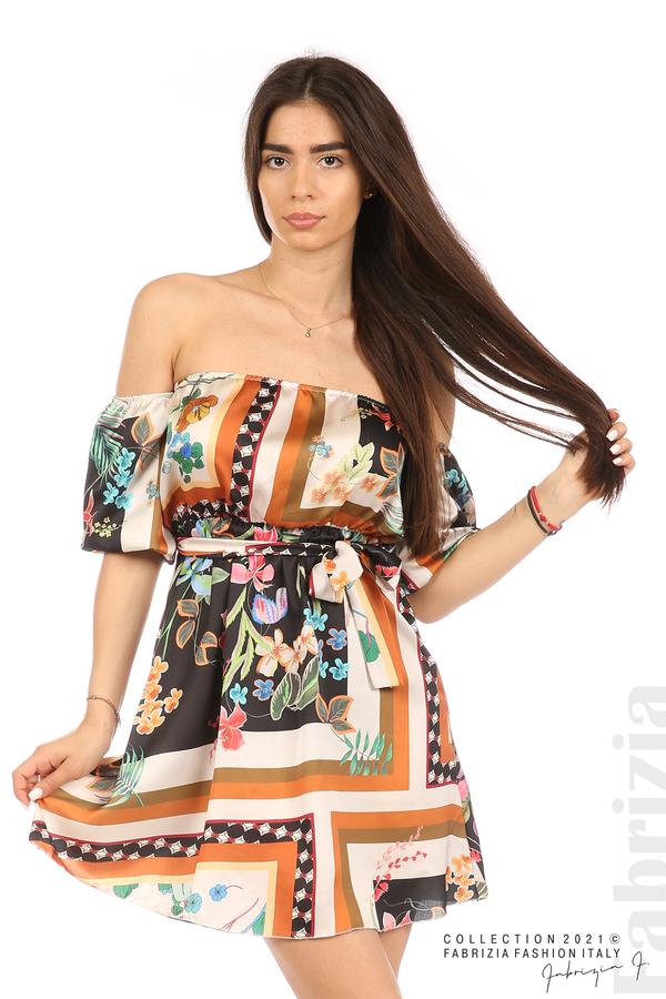 Мгогоцветна рокля паднали рамене екрю/черен 1 fabrizia