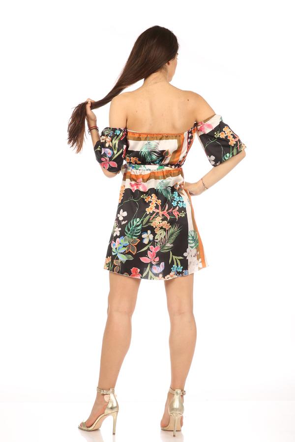 Мгогоцветна рокля паднали рамене екрю/черен 7 fabrizia
