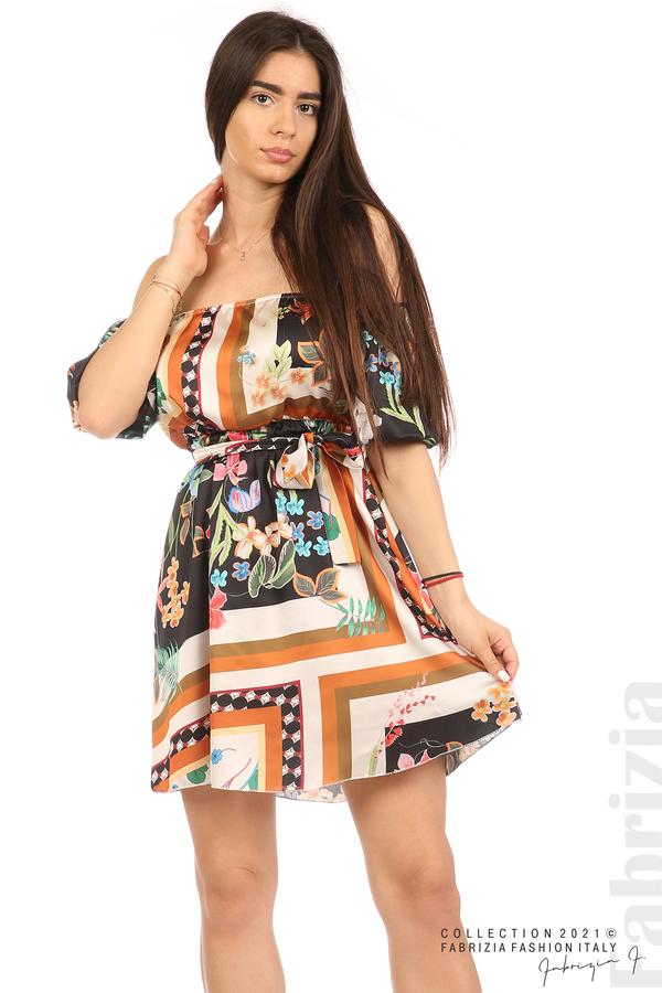 Мгогоцветна рокля паднали рамене екрю/черен 5 fabrizia
