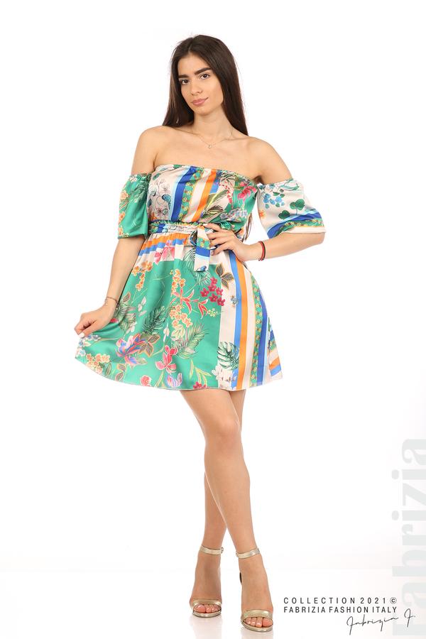 Мгогоцветна рокля паднали рамене екрю/зелен 1 fabrizia