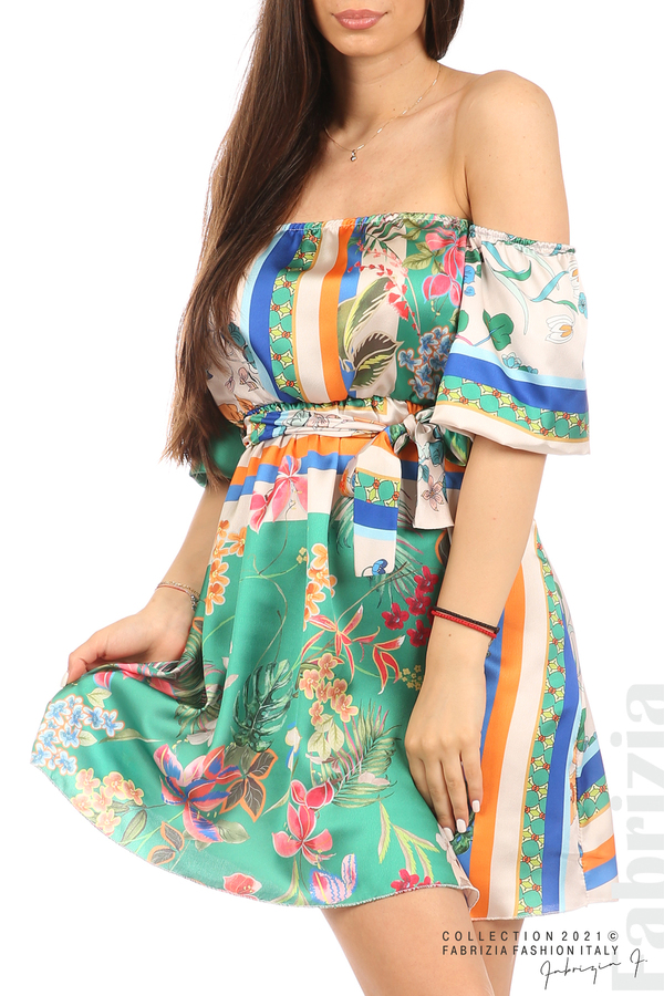 Мгогоцветна рокля паднали рамене екрю/зелен 2 fabrizia