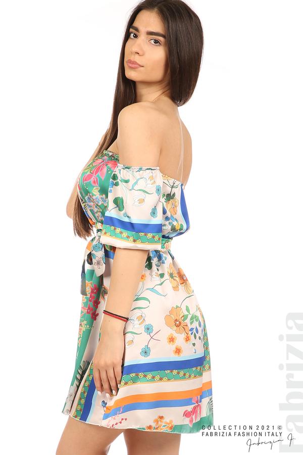Мгогоцветна рокля паднали рамене екрю/зелен 3 fabrizia
